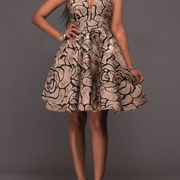 Brown Floral Print Deep V-neck Halter Neck A-line Homecoming Skater Midi Dress