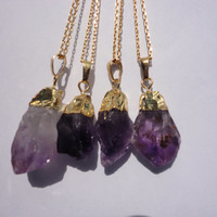 Amethyst Raw Crystal Drop Gold Pendant Necklace/Choose Your Pendant/Purple and Gold