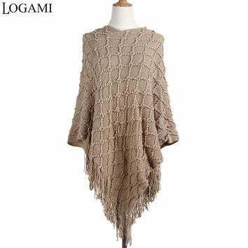 LOGAMI Irregular Poncho Coats Women Knitting Long Ponchos And Capes Sweater Pullovers Casaco Poncho De Tassel
