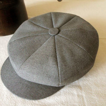 Gray Vintage Style Newsboy Cap - Cashmere Flannel Handmade Eight Piece / Bakerboy / Apple / Newsboy / Flat Cap - Men Women