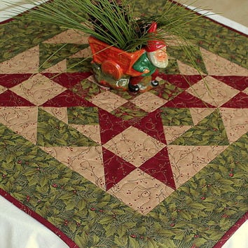 Christmas Table Topper, Quilted Winter Table Topper, Holly Berries on Green and Red, Holiday Table Runner