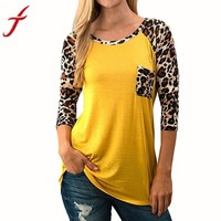 Women Fashion Blouse Leopard Splicing Pocket Casual Long Yellow Shirt Women Blouse Top blouses women's fashion trends