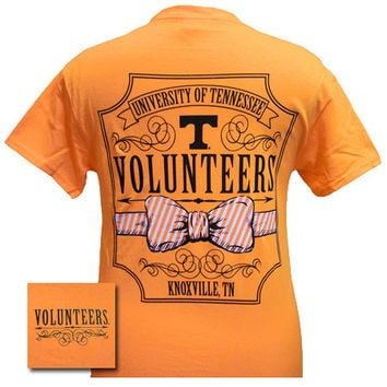 Tennessee Vols Volunteer Class Prep Bow Girlie Bright T Shirt