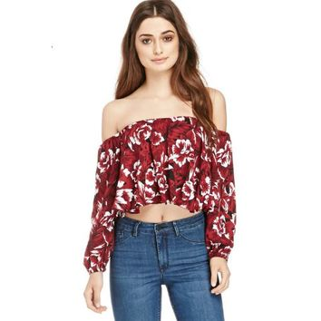 Ezequiel Cropped Floral Blouse Off Shoulder Gypsy Summer Womens Top