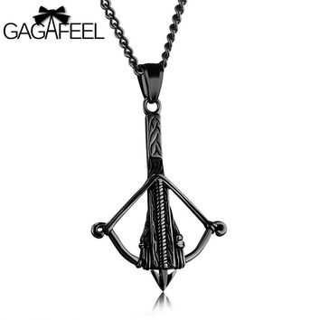 GAGAFEEL Crossbow Pendant Necklace Men Jewelry Bow Arrow Design Stainless Steel Funky Punk Style New shipping 3 Colors