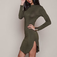 Olive High Neck Curved Sides Tee Dress - LoveCulture