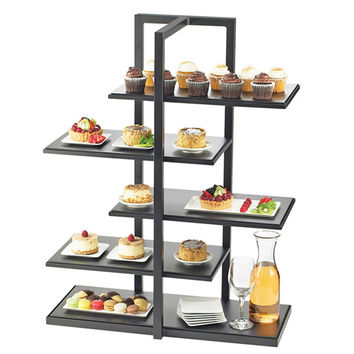 28.5W x 13.5D x 36.5H One by One Multi Level Shelf Display Black