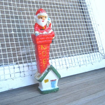 1960s Vintage Santa Claus Climbing Down Chimney Candle - Retro Christmas/Santa Claus Candle; Made in Japan - Figural Santa Christmas Candle