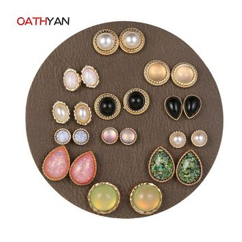 OATHYAN 12Pairs/lot Vintage Punk Stud Earrings For Women Statement Round Water-Drop Oval Foil Jelly Stone Pearl Earring Gifts