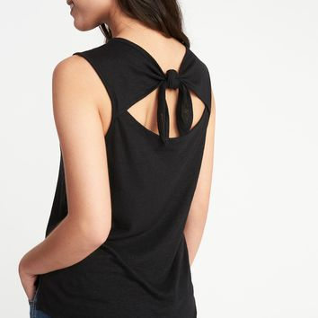 Relaxed Sleeveless Tie-Back Top for Women|old-navy