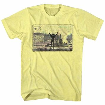 Rocky T-Shirt 1976 Philadelphia Top Of Stairs Yellow Heather Tee