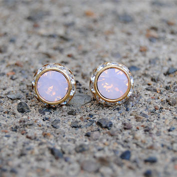 Pink Opal Earrings - Small Gold Sugar Sparklers - Vintage Swarovski Pink Opal Diamond Rhinestone Vintage Stud Earrings - Mashugana