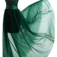 Sunvary Gorgeous 2016 Rhinestone Sheath Skirt Cocktail Prom Dress Cap Sleeves Evening Party Foraml Gowns for Banquet- US Size 4- Dark Green