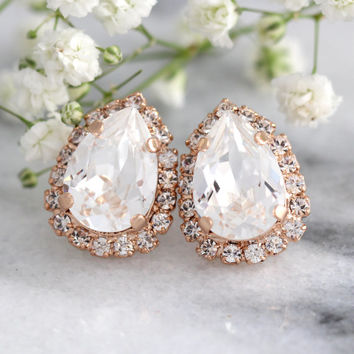 Bridal wedding earrings, Bridal Teardrop Earrings, Bridesmaids Earrings, Rose Gold Crystal Earrings, Swarovski Bridal Earrings, Bridal Studs