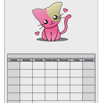 Kawaii Kitty Blank Calendar Dry Erase Board