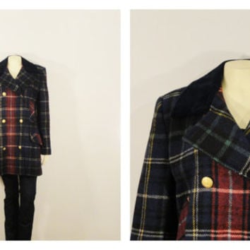 SALE Vintage Coat Double Breasted Plaid Pea Coat 60s 70s Mad Men Era Wool & Velvet Lapel Union Made in USA Modern Size l - xl