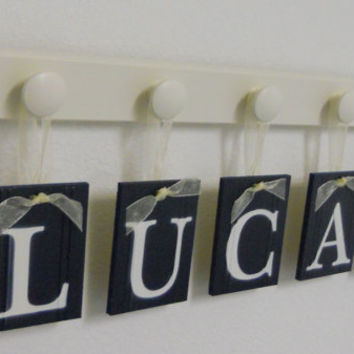 Navy Blue Decorative Letters for Nursery Wall Set includes Baby Boy Name LUCAS and 5 Wooden Pegs