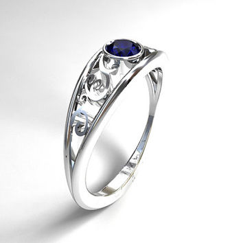 Blue sapphire filigree  ring, white gold, filigree engagement, bezel, wedding ring, unique, blue sapphire solitaire, blue, vintage, unique