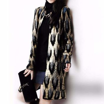 Peacock Print Open Stitch Long Cardigan For Women