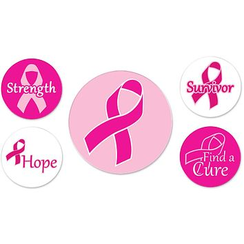 Breast Cancer Awareness Pink Ribbon Buttons - 12 Units