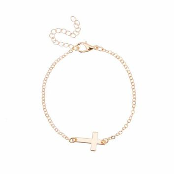 Gold Chain Simple Cross Bracelet Cheap Bracelet Exquisite jewelry for women