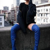 Denim Thigh-High Boots