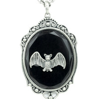 Vampire Bat in Victorian Setting Necklace Black Stone Gothic Jewelry