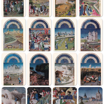 Limburg Brothers -- Magnificent Book of Hours Duc de Berry. Set of 16 Vintage Prints, Postcards -- 1975. Fine Arts, Moscow