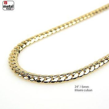 Jewelry Kay style Men's 6 mm Solid 14k Yellow Gold Plated Miami Cuban Link Chain Necklace 24""