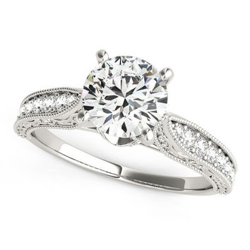 14K White Gold Round Pronged Antique Design Diamond Engagement R 6868df367