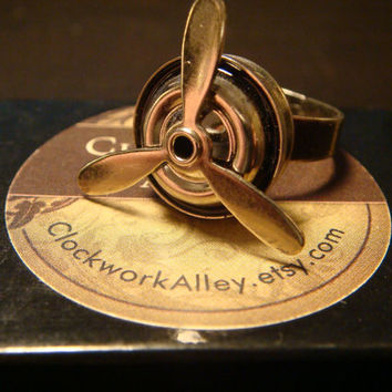 Steampunk Propeller Ring - Movable Blades (1527)