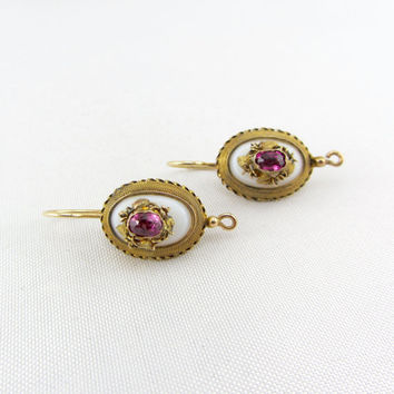 Antique Victorian 14K Gold Tourmaline and Agate Earrings Etruscan Revival Pink Gemstone Yellow Gold Pierced Earrings Fine Jewelry