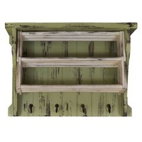 Distressed Wood Laundry Drying Rack With Shelves & Hooks (White and Green)