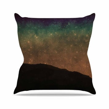 "Sylvia Coomes ""Star Light"" Teal Brown Outdoor Throw Pillow"