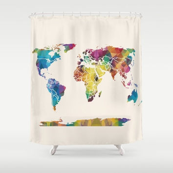 World Map Shower Curtain - Geometric Rainbow Map - Home Decor - Bathroom - blue, red, purple, yellow beige, colorful