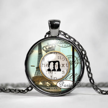 Initial Necklace, Best Friend,Back to School, Teacher Gift, The Letter Art, Vintage Typewriter Key, Eiffle Tower Charm, Alphabet Necklace