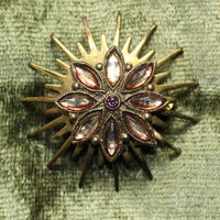 Vintage Retro Mod Star Burst Brooch with Orange Pink Marquis Rhinestones and a Purple Center Rhinestone In Gold Tone Finish