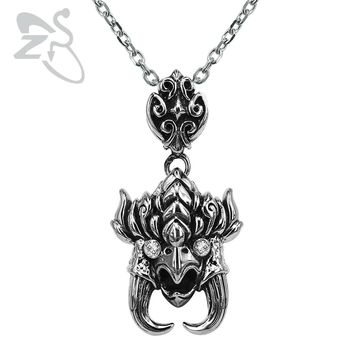 ZS Stainless Steel Tribe Punk Pendant Necklaces Male Biker Skull Pendant Necklace for Men Fashion Link Chain Necklace Jewelry