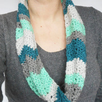 Chevron Stitch Infinity Scarf in Mint, Grey and Teal,  ready to ship.