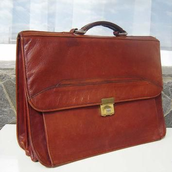 Vintage Leather Business briefcase, Briefcase leather bag, 1970s brown Bag, Travel Ba