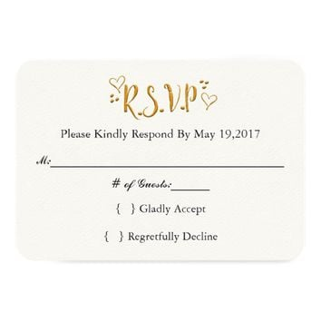 Happily Ever After Gold RSVP Card