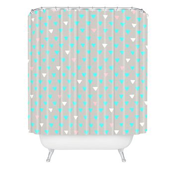 Bianca Green Geometric Confetti Party Shower Curtain