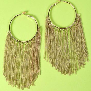 Gold Tassel Hoop Chandelier Earring