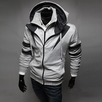 Mens Edgy Suit Zip-Up Hoodie