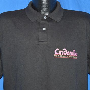 80s Cinderella Night Songs World Tour 1986 Polo Shirt Large