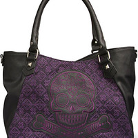 Purple Tweed Sugar Skull Bag