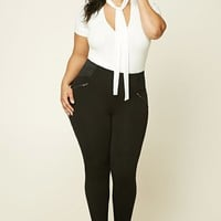 Plus Size Zipper Trim Pants