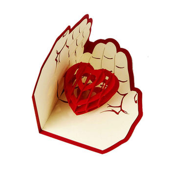 3D Pop Up Greeting Card Love In Hands Birthday Good Luck Valentine Christmas-Y103