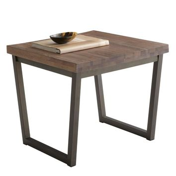 PORTFOLIO BLACK STEEL BASE WITH A SOLID WALNUT DISTRESSED FINISH TOP END TABLE