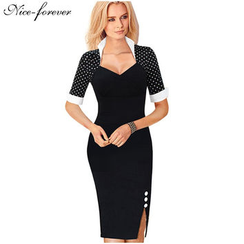 Party Polka Dot Bodycon Pencil business Work Wear dress b47Spring Women Elegant Patchwork Buttons Sheath Dresses Evening